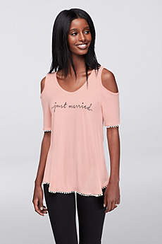 Just Married Cold-Shoulder Tee