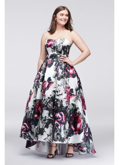 High-Low Floral Satin Plus Size Ball Gown | David\'s Bridal