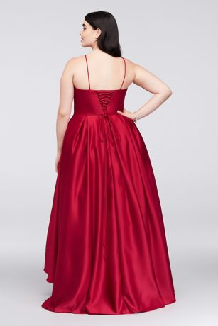 High Neck Satin Plus Size Ball Gown David S Bridal