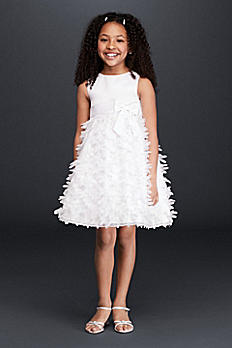 Flower Girl Dress with 3D Flowers on Skirt 0397