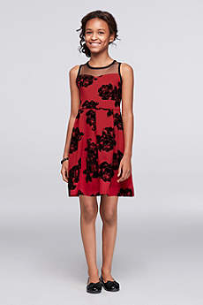Short A-Line Tank Dress - Poppies and Roses