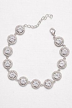 Solitaire Halo Cubic Zirconia Bracelet A50070127