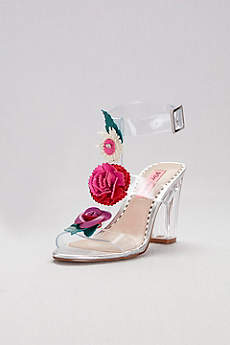 Pink by Betsey Johnson Multi Sandals (Clear Strappy Sandals with Colorful Floral Detail)