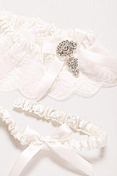 Adjustable Jeweled Lace Garter Set ACC610