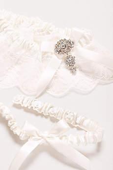 Adjustable Jeweled Lace Garter Set