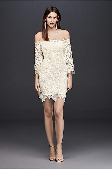 Ivory off-the-shoulder short lace dress with ¾ sleeves
