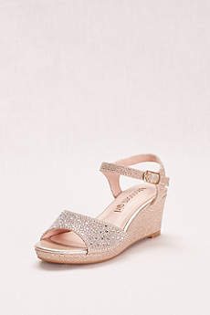 Blossom Grey Flowergirl Shoes (Crystal Studded Girls' Glitter Wedge)