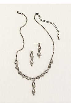 Double Drop Crystal Earring and Necklace Set ACS227