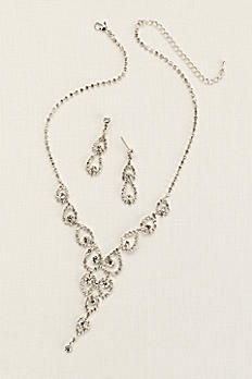 Crystal Pear Shaped Y Necklace and Earring Set ACS235