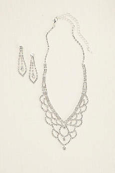 Deep V Scalloped Necklace and Earring Set