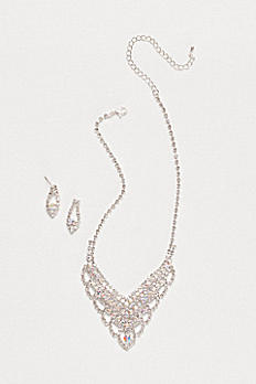 Scalloped Crystal Y-Necklace and Earring Set ACS837AB