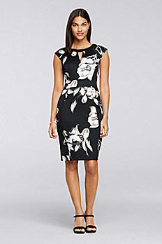 Cap Sleeve Knee-Length Printed Knit Work Dress ADAIH1AFK