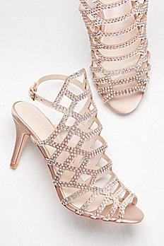 Embellished Skinny Strap Cage Heels ADA