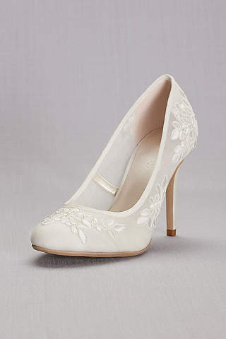 Ivory Pumps Round Toe Mesh With Corded Lace Appliques