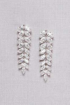Cubic Zirconia Leaf Drop Earrings