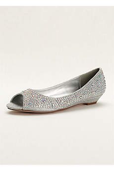 David's Bridal Grey Wedge Shoes (Low Wedge Peep Toe with AB Crystals)