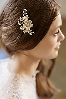 Hand-Wired Floral Comb with Crystals ALESSANDRA