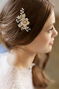 Hand-Wired Floral Comb with Crystals