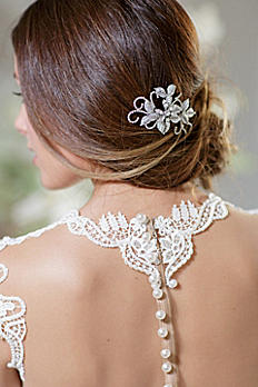 Hand-Wired Floral Comb with Swarovski Crystals ALEXANDRA