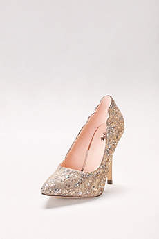Pink Paradox Blue (Sequin Lace Pointed Toe Pumps)