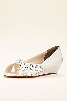 Touch Ups White Peep Toe Shoes (Dyeable Wedge by Touch Ups)