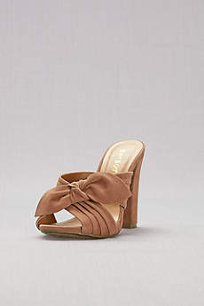 Bamboo Beige Peep Toe Shoes (Knotted Faux-Suede Mules)