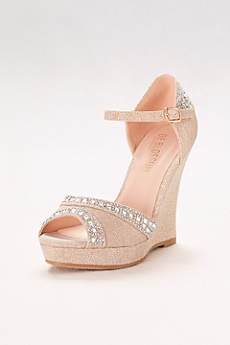 Blossom Beige Peep Toe Shoes (Crystal-Embellished Platform Wedges)