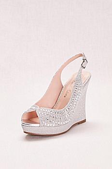 Glitter and Crystal Slingback Peep-Toe Wedge ALINA48