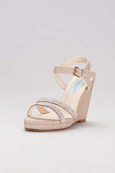 Dyeables Pink (Glitter Platform Wedges with Crystal Straps)