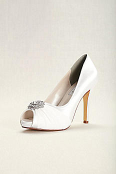 Dyeable Chiffon and Satin Peep-Toe Heels 4158