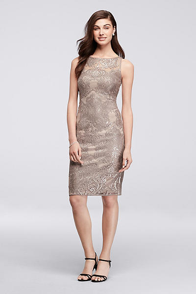 Petite Mother of the Bride Dresses in Taupe
