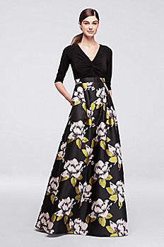 Long Dress with Bold Floral Skirt and 3/4 Sleeves AP1E200336