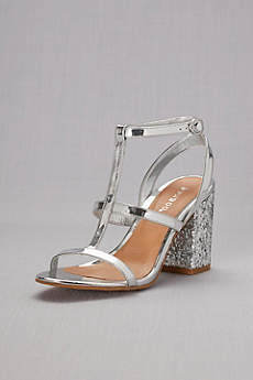 Bamboo Grey Sandals (Block-Heel Strappy Sandals with Chunky Glitter)