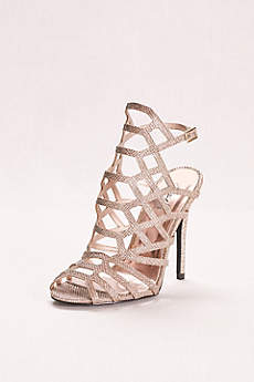 Qupid Grey Peep Toe Shoes (Glitter High Heel Cage Sandal)