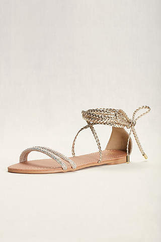 Qupid Yellow Sandals Braided Goddess Sandal