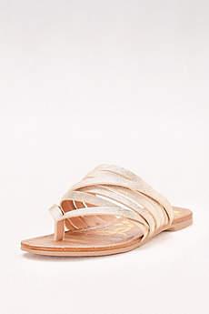 Qupid Ivory Sandals (Metallic Strappy Flip Flop Sandals)