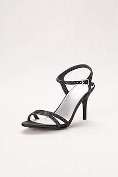 David's Bridal Black Peep Toe Shoes (Strappy Mid-Heel Sandal)
