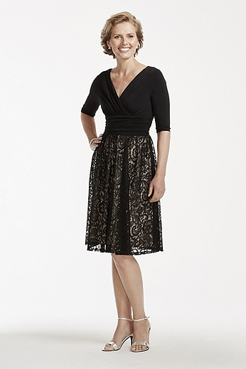 Short Sequin Lace Dress with V Neckline ASABX1ACR
