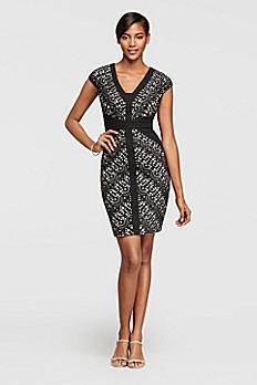 Short Sleeve V-Neck Laser Cut Pattern Dress ASAEX1AMD