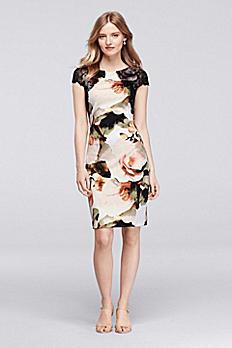 Floral Print Scuba Sheath Dress with Cap Sleeves ASAKD1AOI