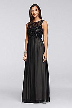 Ruched Long Dress with Illusion Neckline ASWKO1ARM