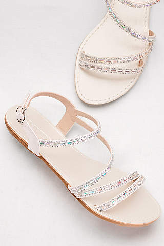 Davids Bridal White Sandals Asymmetric Strap With Crystal Details