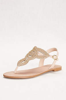 David's Bridal Ivory Sandals (Swirling Bead and Crystal T-Strap Sandal)