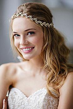 Delicate Crystal Laurel Halo Headband and Sash AUDREY