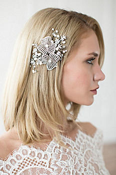 Hand-Wired Double Flower Crystal Hair Comb AVA