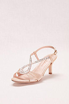 Low Heel Glitter and Crystal Embellished T-Strap AVERO51