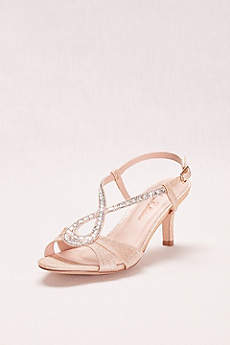 Blossom Beige Peep Toe Shoes (Low Heel Glitter and Crystal Embellished T-Strap)