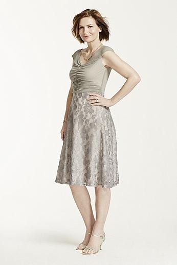 Cap Sleeve Sheer Mesh Dress with Lace Skirt AWANE53M