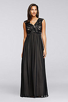 Long Lace Gown with Embellished Sequin Bodice AWKOJ57