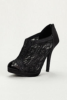 Lace High Heel Shootie with Flatback Crystals AYAEL9
